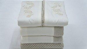 Jogo de toalha com aplique Percal 200 Fios Importado Bordado Grano – Enxovart