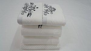 Jogo de toalha com aplique Percal 200 Fios Importado Bordado Joy – Enxovart
