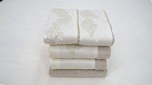 Jogo de toalha com aplique Percal 200 Fios Importado Bordado Mizar – Enxovart