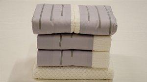 Jogo de toalha com aplique Percal 200 Fios Importado Bordado New Way – Enxovart