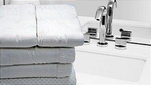 Jogo de toalha com aplique Percal 200 Fios Importado Bordado Outono – Enxovart