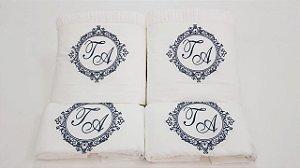 Jogo de toalha com aplique Percal Importado 200 Fios Bordado Personalizado – Enxovart