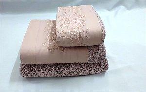 Jogo de toalha com aplique 400 Fios Egípcios Bordado Antares – Enxovart