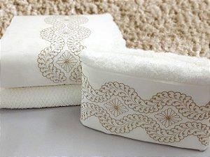 Jogo de toalha com aplique Percal 200 Fios Importado Bordado Esmeralda – Enxovart