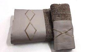 Jogo de toalha com aplique 400 Fios Egípcios Bordado Diamond – Enxovart