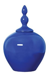 Vaso Pote de Cerâmica Azul  42X25CM