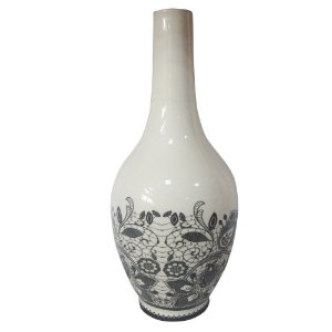 Vaso Cerâmica Dark Bottom Black Laces Fundo Branco 15X30CM