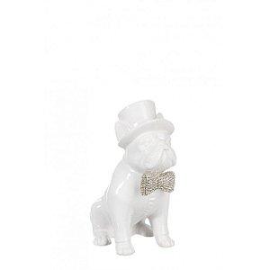 Escultura Cachorro de Chapéu e Gravata Branco 11,5X24X20CM