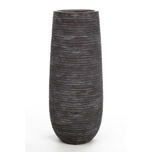 Vaso Cerâmica Stripe Cinza 14X36CM