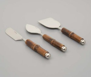 Conjunto 3 pcs para Queijo de Aço Inox e Cabo de Bamboo Escuro