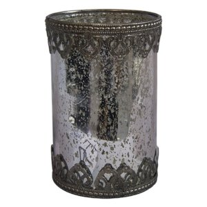 Castiçal Copo de Vidro Decorativo 10X15,5CM