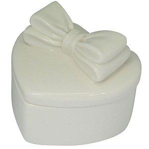 Pote Decorativo Coração Cerâmica Branco 11X9X10CM