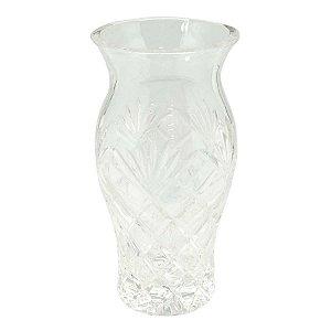 Vaso de Cristal Pequeno com Alto Relevo de Losango 10X20CM