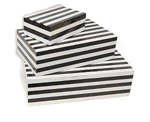 Conjunto de 3 Caixas Decorativas em Madeira Preto e Branco