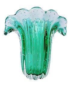 Vaso de Cristal Murano Verde Esmeralda sem Ouro M137