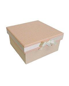 Caixa de Madeira Revestida em Tecido Rosa e Laço 21x21x10cm