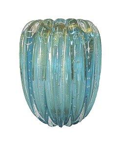 Vaso de Cristal Murano Aquamarine com Ouro 24cm