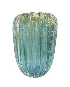 Vaso de Cristal Murano Aquamarine com Ouro 35cm