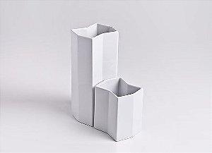 Vaso de Porcelana Torre G Branco 26cm