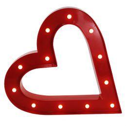 Coração Luminoso Vazado Vermelho