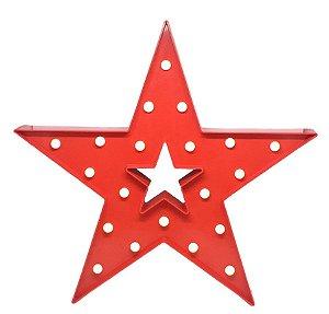 Estrela Luminosa Vazada Vermelha