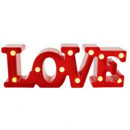 Luminária LOVE Pequeno com Leds Vermelha 30x10cm