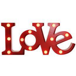 Luminária LOVE Grande Vermelho com Leds 48X22cm