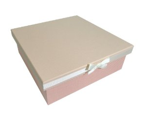 Caixa Quadrada Revestida em Tecido Rosa/Bolinhas com Laço 30x30x10