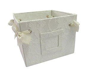 Caixa Cesta Branco com Renda 16x12x16cm
