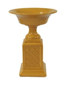 Vaso Taça Cerâmica Base Quadrada Amarelo 18x25cm