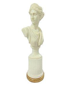 Figura Decorativa Feminina em Resina Marmorizada 47cm