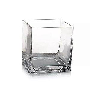 Vaso de Vidro Transparente Quadrado 15cm