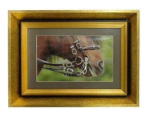 Quadro Horses Nose Moldura de Madeira Dourado 48x36cm
