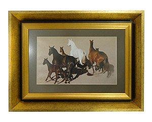 Quadro Horses Ride Moldura de Madeira Dourado 48x36cm