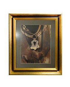 Quadro Horses Chest Moldura de Madeira Dourado 50x60cm