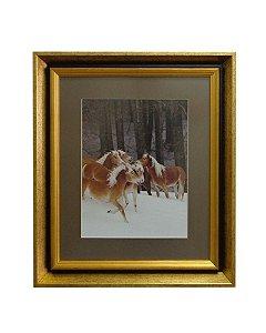 Quadro Horses Snow Moldura de Madeira Dourado 50x60cm