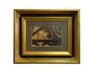Quadro Horses Eye Moldura de Madeira Dourado 35x29cm