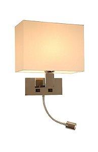 Arandela em Aço Inox Polido e Cúpula de Linho Off White 1 X E27 40W e Mangueira de LED 3W