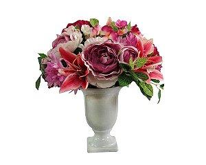 Arranjo Flores Sortidas Vaso Taça em Cerâmica Branco 25cm