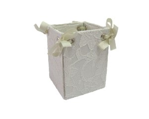 Caixa Pote Renda Branco 8x10cm