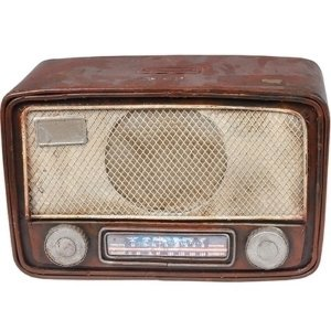 Cofre de Metal Mini Radio Marrom 23x15cm