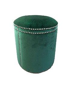 Puff em Tecido Veludo Verde 45x40cm