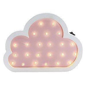 Nuvem Luminosa Rosa e Branco MDF 27cm