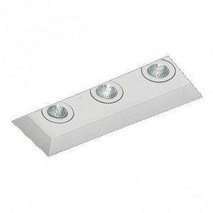 Luminária de mbutir Foco Triplo Direcional 8,5x24cm GU10