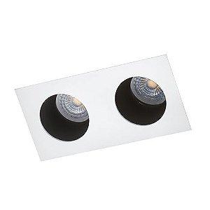 Luminária Retangular de Embutir Foco Duplo Fixo Recuado 9x18cm