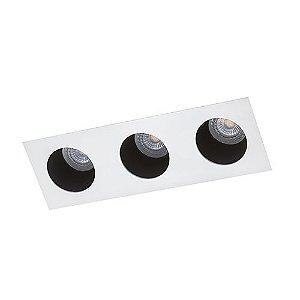 Luminária Retangular Embutir com Foco Triplo Fixo Recuado 9x26cm