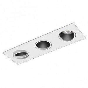 Luminária Retangular Embutir Foco Triplo Recuado Direcional 9x26cm
