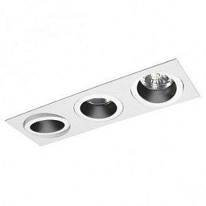 Luminária Retangular Foco Triplo Recuado Direcional 11x33cm AR70