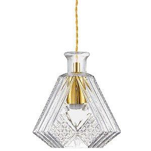 Pendente em Vidro Lapidado Transparente e Metal 18x20x11cm