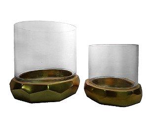 Conjunto Vaso de Vidro e Metal Dourado 19x19cm